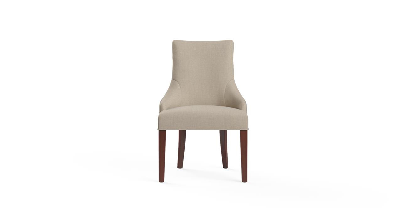 Zoe Scoop Back Dining Chair - French Beige and Brown Legs