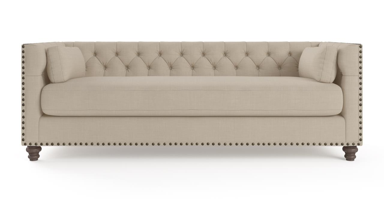 Madeline Chesterfield 3 Seater Sofa - French Beige