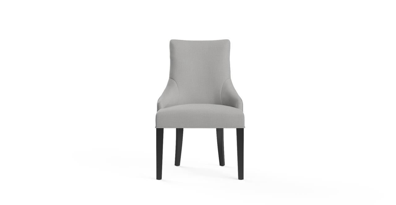 Zoe Scoop Back Dining Chair - Cloud Grey and Black Legs