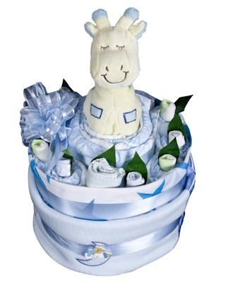 Image of Baby Boy Nappy Cake - Baby Hamper